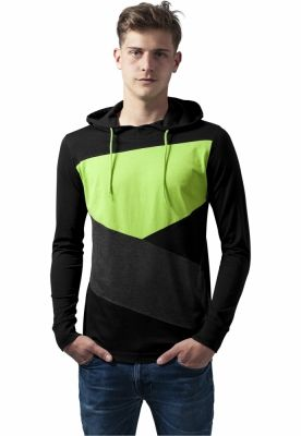 Hanorace barbati jersey negru-gri carbune Urban Classics verde deschis