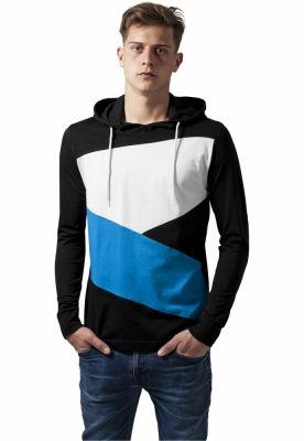 Hanorace barbati jersey negru-turcoaz Urban Classics alb