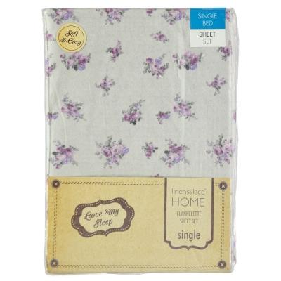 Set Love My Sleep Roses Flannelette Sheet lila and gri