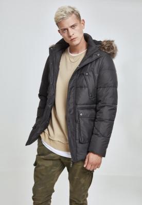 Jacheta blana artificiala cu gluga negru Urban Classics