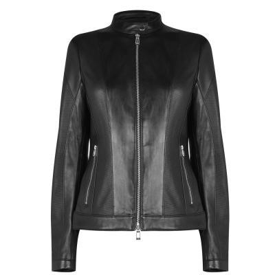 Jacheta Hugo Hugo Boss Lusea din piele pentru Femei negru