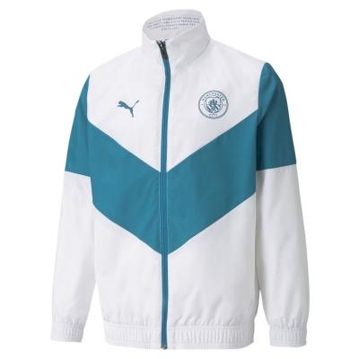 Jacheta Puma Manchester City Pre Match 2021 2022 pentru copii alb verde