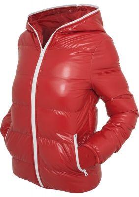 Geci fashion lucioase de iarna femei rosu-alb Urban Classics