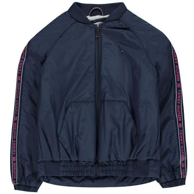 Jacheta Tommy Hilfiger Essential Tape pentru fetite negru iris