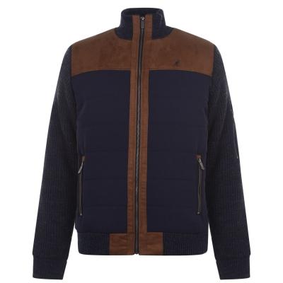 Jacheta Kangol cu fermoar tricot pentru Barbati bleumarin maro