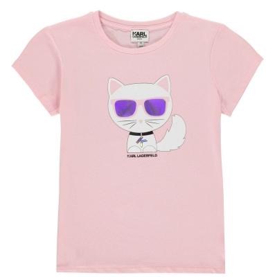 Tricou cu imprimeu Karl Lagerfeld Cat pentru fetite roz 46b