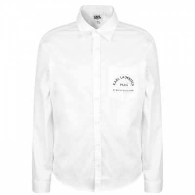 Karl Lagerfeld Logo Skool cu buzunar Shirt pentru baieti alb