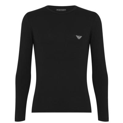 Lenjerie Bluza maneca lunga Emporio Armani Shiny negru