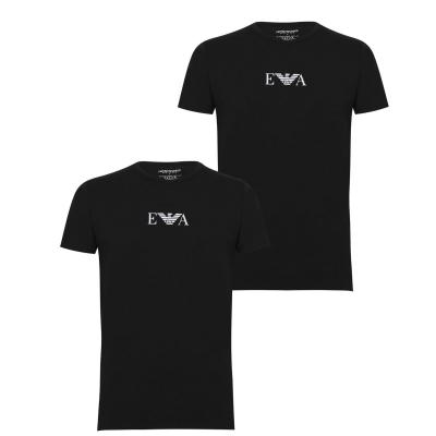 Lenjerie Set 2 Tricou cu imprimeu Emporio Armani Chest negru
