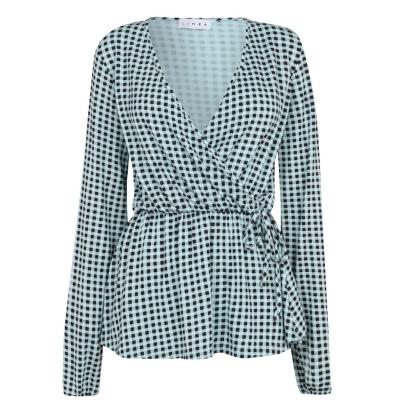 Linea Linea Mock Tie Top pentru Femei albastru