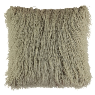 Linens and Lace and Lace Faux Mongolian Fur Cushion gri