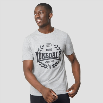 Lonsdale Heavyweight Jersey imprimeu Graphic Tee gri