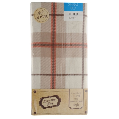 Love My Sleep Check Fitted Flannel Bed Sheet bej