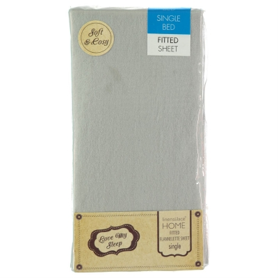 Love My Sleep Fitted Flannel Sheet gri