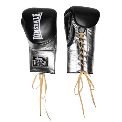 Manusi box pentru lupte Lonsdale L60 Lace din piele negru auriu