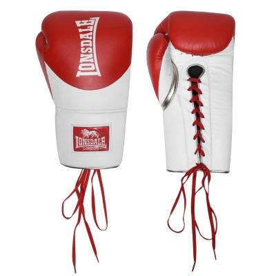 Manusi box pentru lupte Lonsdale L60 Lace din piele rosu alb