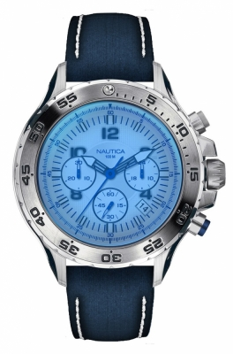 Nautica Watches Mod Nst Chrono - Sea - Water Fun Nai19535g - Br Slv Case - albastru Dial