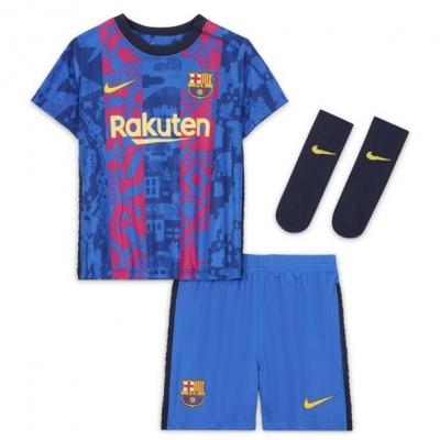 Nike Barcelona Third Kit 2021 2022 pentru Bebelusi albastru galben