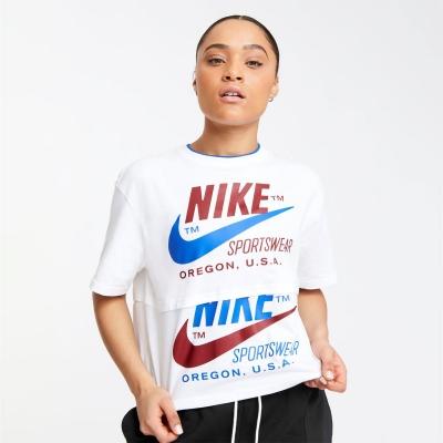 Nike Sportswear Icon Clash Short-Sleeve Top pentru femei alb