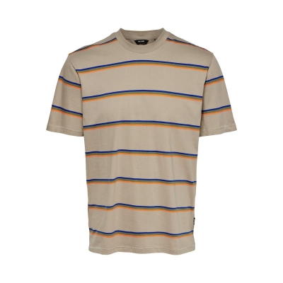 Tricou Only and Sons Regular fit cu dungi bej