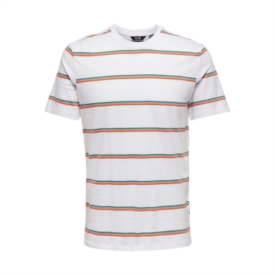 Tricou Only and Sons Regular fit cu dungi bright alb