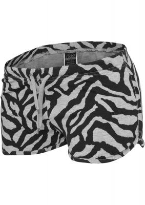 Pantalon scurt cu imprimeu zebra gri-negru Urban Classics