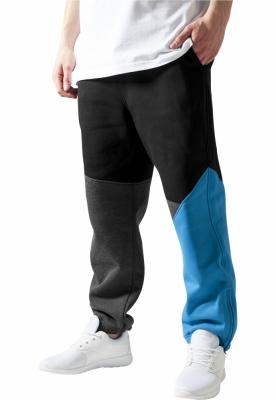 Pantalon trening zig zag gri-carbune Urban Classics negru turcoaz