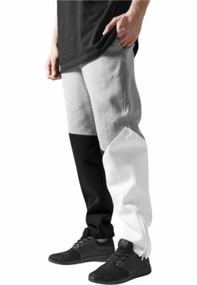 Pantalon trening zig zag negru-gri Urban Classics alb