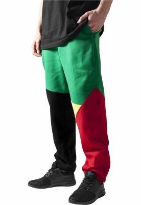Pantalon trening zig zag negru-rasta Urban Classics