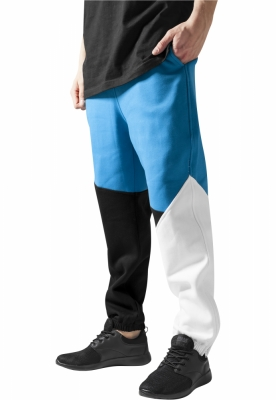 Pantalon trening zig zag negru-turcoaz Urban Classics alb