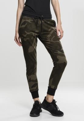 Pantaloni Camo Terry pentru Femei oliv-camuflaj Urban Classics negru