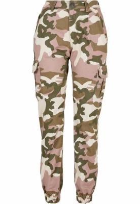 Pantaloni Cargo cu talie inalta Camo pentru Femei bej-camuflaj Urban Classics