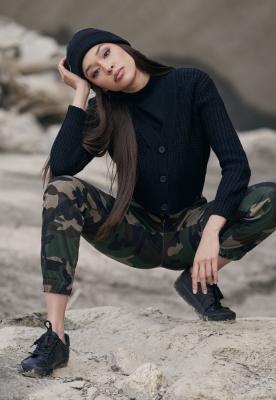 Pantaloni Cargo cu talie inalta Camo pentru Femei camuflaj Urban Classics
