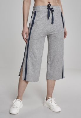 Pantaloni Culottes Taped Terry pentru Femei gri-bleumarin Urban Classics