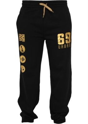 Pantaloni jogging sport cu imprimeu si snur femei negru-auriu Urban Dance