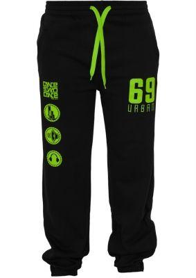 Pantaloni jogging sport cu imprimeu si snur femei negru-verde Urban Dance deschis