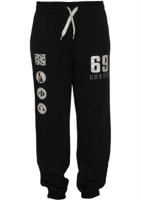 Pantaloni jogging sport cu imprimeu si snur femei negru-argintiu Urban Dance