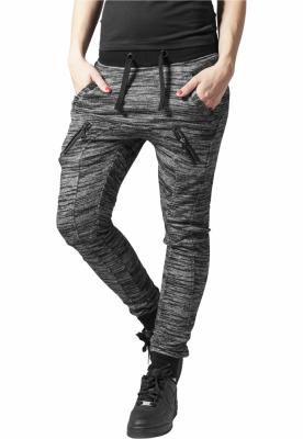 Pantaloni de trening cu fermoar dama negru-gri Urban Classics