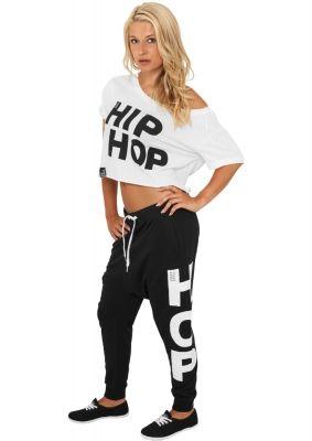 Pantaloni de trening Hip Hop Urban Classics negru alb