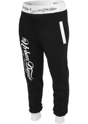 Pantaloni de trening cu buzunare si imprimeu pe spate negru-alb Urban Dance