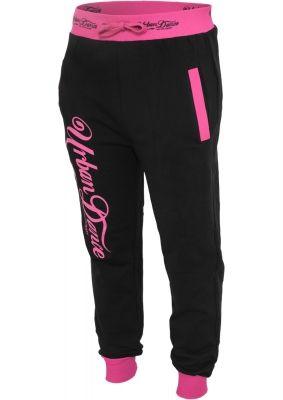 Pantaloni de trening cu buzunare si imprimeu pe spate negru-roz neon Urban Dance