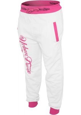 Pantaloni de trening cu buzunare si imprimeu pe spate alb-roz neon Urban Dance