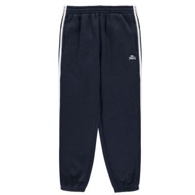 Pantaloni jogging Lonsdale 2 cu dungi cu mansete pentru baietei bleumarin alb
