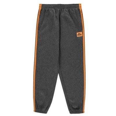 Pantaloni jogging Lonsdale 2 cu dungi cu mansete pentru baietei gri carbune portocaliu