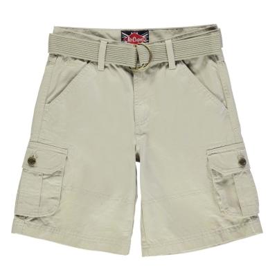 Pantaloni scurti cargo Lee Cooper cu curea pentru baietei maro deschis