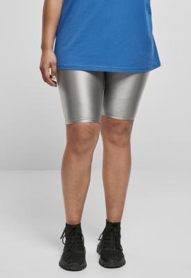 Pantaloni scurti ciclism talie inalta Shiny Metallic pentru Femei argintiu Urban Classics
