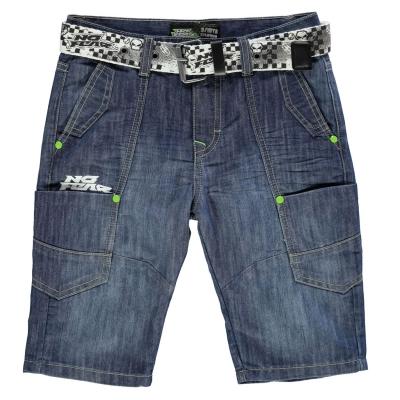 Pantaloni scurti No Fear cu curea pentru baietei mid wash