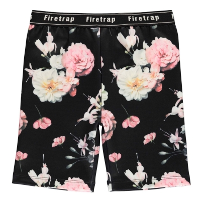 Pantaloni scurti Firetrap cu imprimeu ciclism pentru fete negru floral