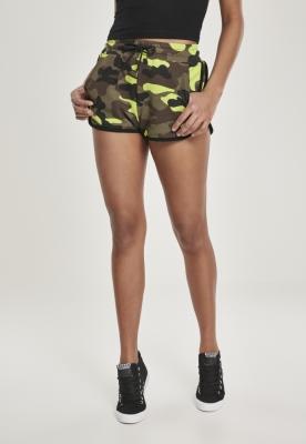 Pantaloni scurti imprimeu camuflaj pentru Femei galben-camuflaj Urban Classics