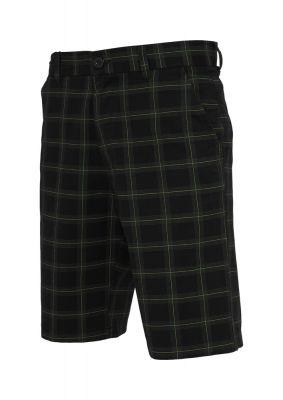 Pantalon scurt in carouri negru-gri Urban Classics verde deschis